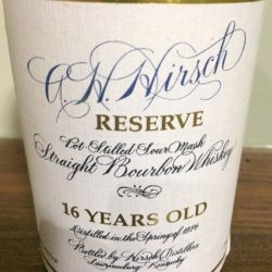 a.h. hirsch 16 year bourbon black wax squat bottle - front label