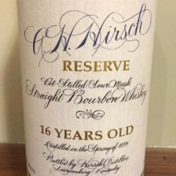 a.h. hirsch 16 year bourbon blue wax - front label
