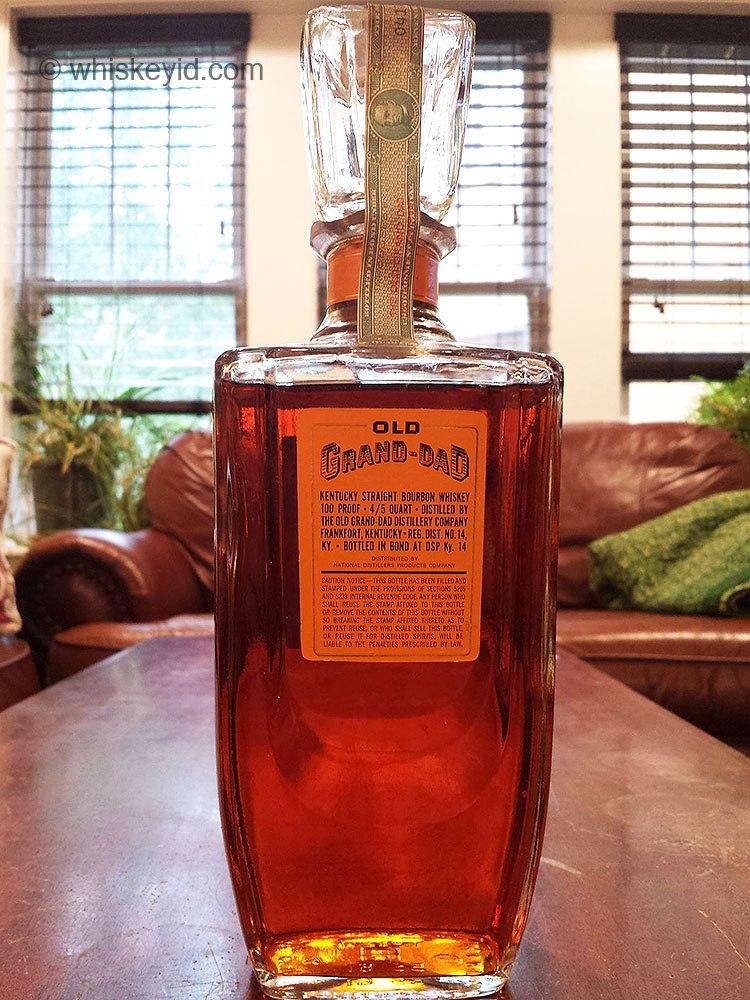old grand dad bonded bourbon decanter 1961 back