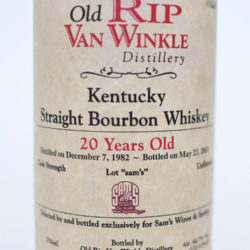 old_rip_van_winkle_20_year_old_bourbon_sams_single_barrel_front_label