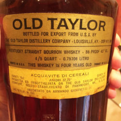 old_taylor_86_proof_bourbon_decanter_export_1964_back_label