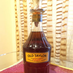 old_taylor_86_proof_bourbon_decanter_export_1964_front