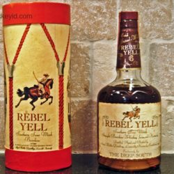 rebel yell bourbon with drum box 1973 front