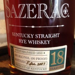 sazerac 18 year rye whiskey 2007 - front label