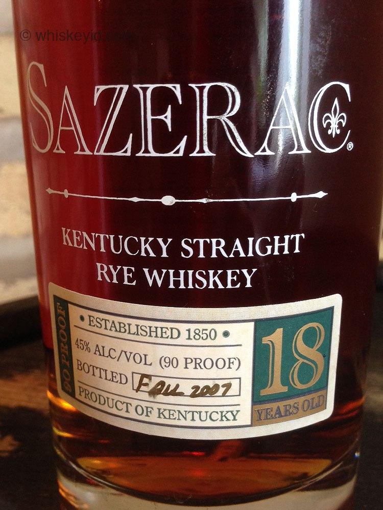 sazerac 18 year rye whiskey 2007 - front label