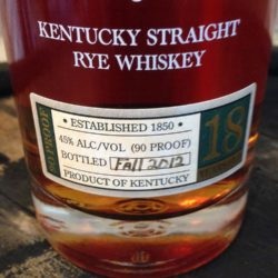 sazerac 18 year rye whiskey 2012 - front label