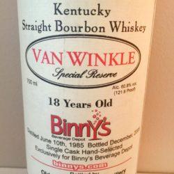 van_winkle_special_reserve_bourbon_18_year_binnys_single_barrel_front_label