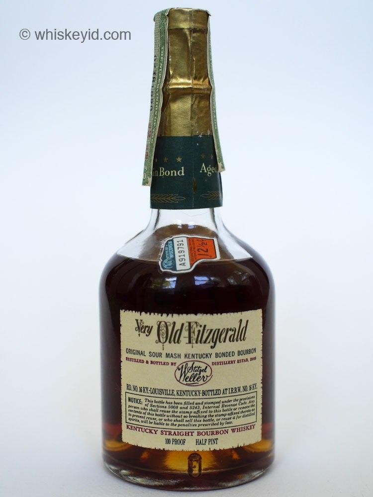 very old fitzgerald bourbon 1958 half pint back