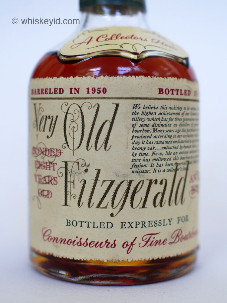 very old fitzgerald bourbon 1958 half pint front label