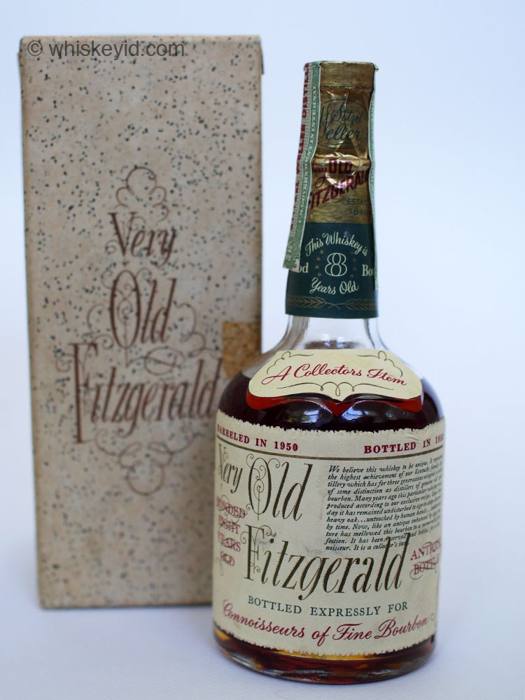 very old fitzgerald bourbon 1958 half pint with box