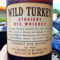 wild turkey straight maryland rye whiskey 1952 - back label