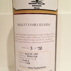 willett 17 year bourbon barrel 1598 - back label